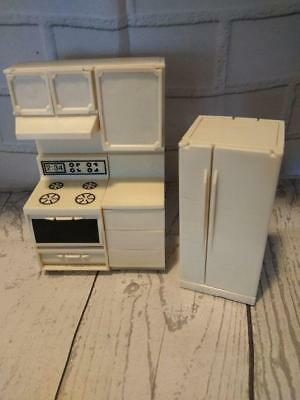 Vintage Ludby ? Miniature Doll House Furniture 3 Piece Kitchen Stove Fridge