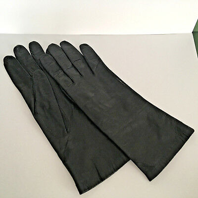 Vintage German Women's Black Leather Gloves with Silk Lining Size 7