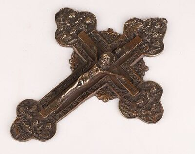 Ancient Chinese Bronze Pendant Statue Cross Jesus Mascot Spiritual Collection