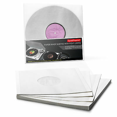 "TunePhonik Paper Inner Sleeves w/ Poly Lining to Protect 12"" LP Vinyl Records"