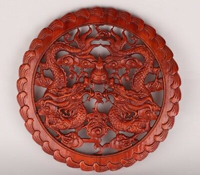 Vintage Chinese Wood Block Prints Decorate Hand-Carved Dragon Mascot Adorn Gift
