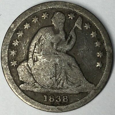1838 10C Seated Liberty Dime VG Uncertified