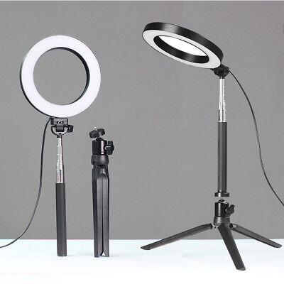 "6"" LED Ring Light w/ Stand 5500K Dimmable Lighting Kit Makeup Phone Camera NEW"