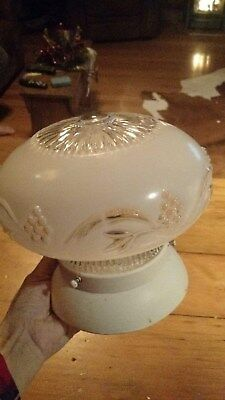 Antique Vintage Ceiling Light Frosted Glass Shade