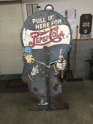 Vintage Pepsi Pete Crossing Guard Metal Sign Circa 1940's