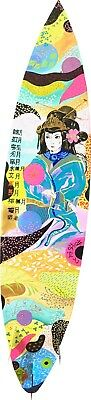 ART Painting Surfboard . JAPANESE GIRL . UNIQUE PIECE . COLLECTIBLE . ⭐️⭐️⭐️⭐️⭐️