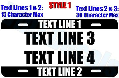 Custom Personalized Aluminum License Plate (Tag) -Many Options- Free US Shipping
