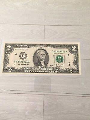 2009 $2 Bill Error Ink Double Print Serial Number (A) Left Unc !!!