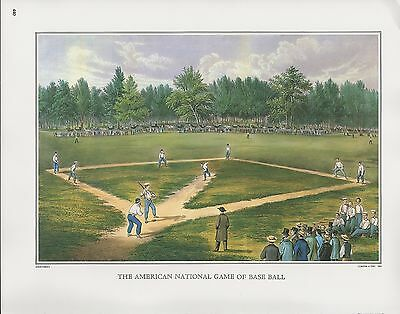 1972 Vintage Currier & Ives BASEBALL THE AMERICAN NATIONAL GAME COLOR Lithograph