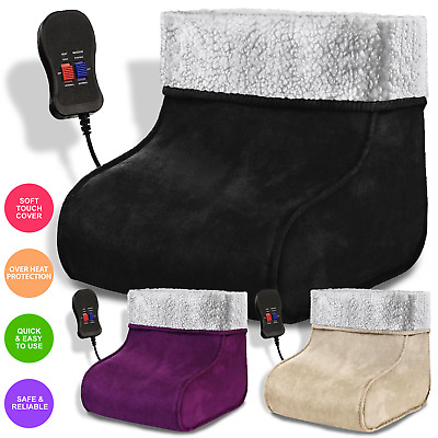 Electric Heated Foot Warmers Feet Massager Comfort Warmer Fleece Fluffy Suede