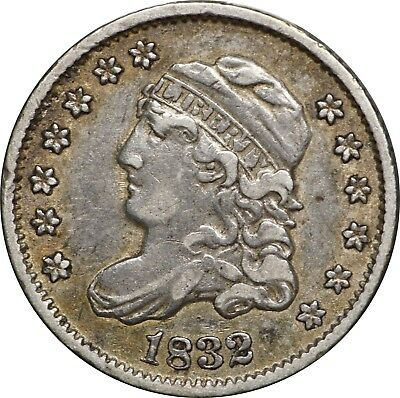 1832 Capped Bust Half Dime, LM-5, XF