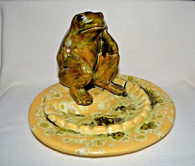 """Claycraft"" Vintage Made in USA 1984 Art Pottery Frog Sitting on the Dish"