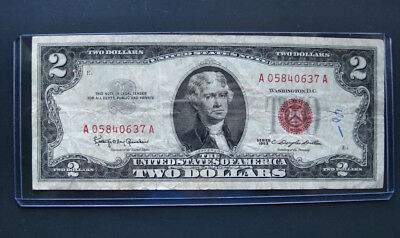1963 $2 Two Dollar E1E2 Red Seal Ea Bill Banknote A058.a Used+Hard Sleeve Vtg