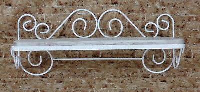 Shabby Shelf - White Wrought Iron Metal Frame Curvy Scroll Design French Country