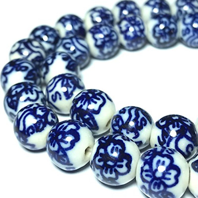 [ABCgems] Vintage Ceramic Porcelain Orchid Flower 10mm Smooth Round Beads
