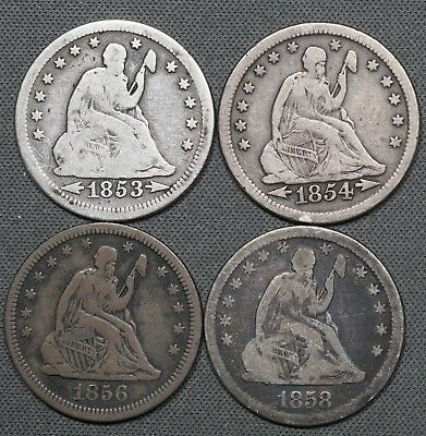 1853, 1854, 1856 & 1858 Seated Liberty Quarters, Lot of (4) Nice Quarters