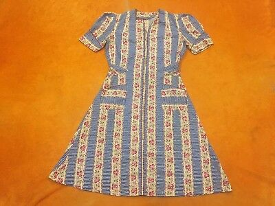 Womens Vintage 40s50s  A-Line Red White Blue Green Floral A-Line Zip Up Dress Sm