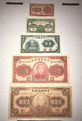 5 Chinese bank notes: 1939 1, 5 cents, 1931 10 cents, 1940 5 Yuan, 1944 200 Yuan