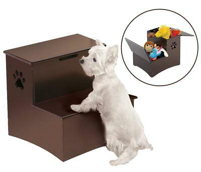 Pet Stairs Dog Steps 2 Step Wooden Ladder Staircase Ramp Puppy Cat Storage Box