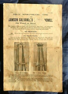 Antique Samson Stover Windmill Assembly Instructions.