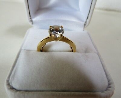 Yellow Gold Plated 1.25 ct. CZ Engagement Solitaire Ring Size 6.5 with sizer