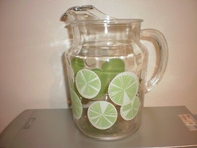 Vintage Federal LIME SLICES Glass Pitcher Mid Century RARE