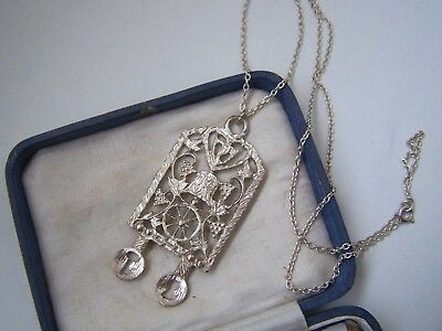 "Vintage Ornate Solid Sterling Silver Wales Welsh Love Spoon Pendant 22"" Necklace"