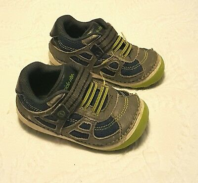 e5321aecfcea88 Baby Boy Shoes Sneakers Size 4 Stride Rite Toddler Blue Gray Lime Green