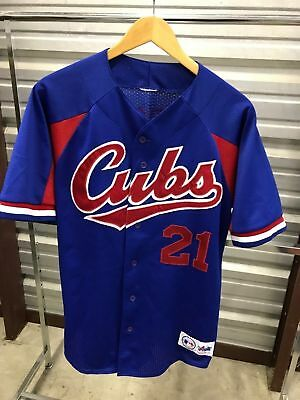 MENS LARGE - Vtg MLB CHICAGO CUBS #21 SAMMY SOSA Majestic Sewn Jersey Made USA