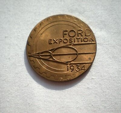 1934 Chicago Worlds Fair Ford V8 Exposition Coin/Token, Century of Progress, WDT