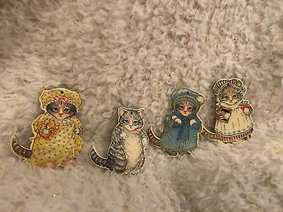 Vintage Kitty Cucumber 1983 Merrimack Paper Ornaments Thick Paper