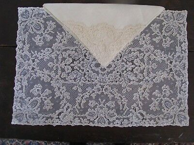 Antique Vtg French Alencon Lace Placemats 8 With Matching Napkins Creme Cleaned