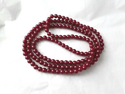 Costume jewellery 150cm dark pink faux pearl bead necklace   C762