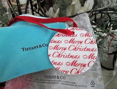 "Tiffany & Co Bone China Large 2-3/4"" Merry Christmas Red White Script Ornament"