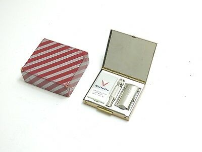Vintage New / Nos Gillette 1965 Travel Razor In Compact Style Case With Box K1