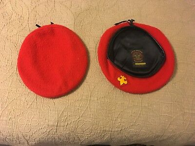 Vintage BSA Boy Scout Red Wool Beret Pair. Small,  X Large