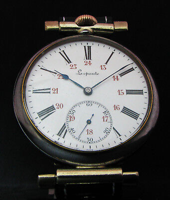LEPAUTE Antique 1900 French Large Wristwatch Porcelain Dial