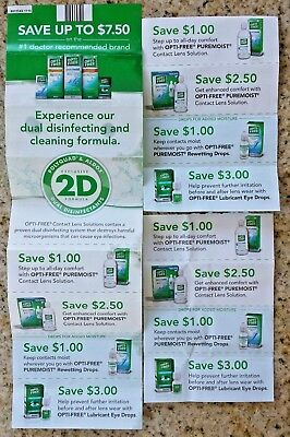 Lot of 12 Coupons~Opti-Free PureMoist Contact Lens Solutions & Drops~$22.50~3/19