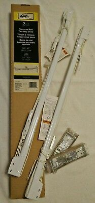 "New Two Kirsch Center Draw Traverse Drapery Curtain Rods 30"" to 48"" White Finish"