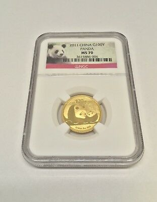 2011 China 1/4oz panda gold coin G100Y NGC MS70