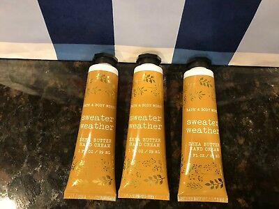 Bath & And Body Works Shea Hand Cream Sweater Weather Lot Of 3 New