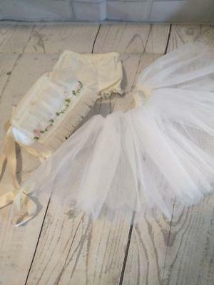 Vintage Doll Clothes Hoop Skirt Tulle Embroidered Bonnet Cap Underwear Pants