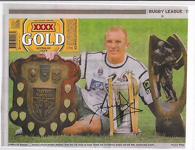 Darren Lockyer ~  Qld Rugby League Legend ~ Hand Signed Newspaper  Article