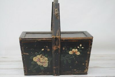 Antique Chinese Shanxi Covered Wood Basket Box Lid Asian Chinese Oriental Decor