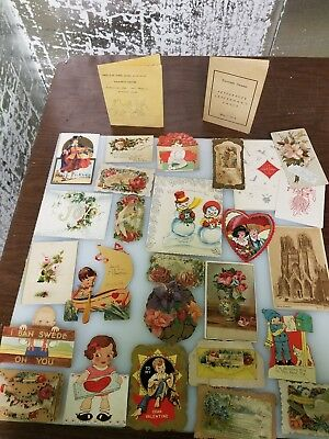 Lot Of Vintage Valentines & Christmas, Thanksgiving Cards
