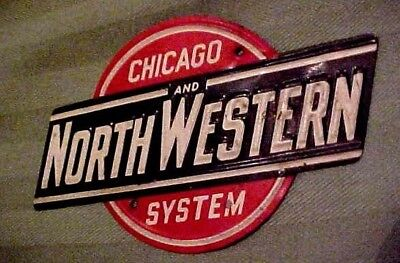 """Vintage Embossed Metal 4"""" Sign CHICAGO AND NORTHWESTERN SYSTEM Railroad 1960's"""