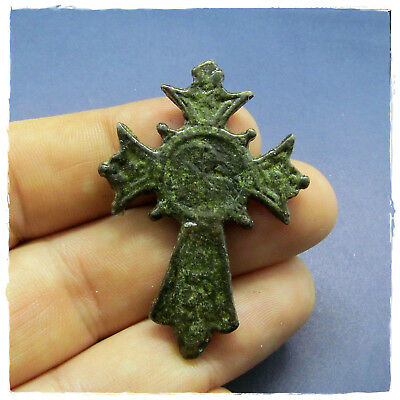 **  CROSS ** ANCIENT BYZANTINE BRONZE PENDANT!!! 9,01g