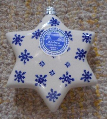 Boleslawiec Polish Pottery Large STAR Holiday Star Pattern  Ornament
