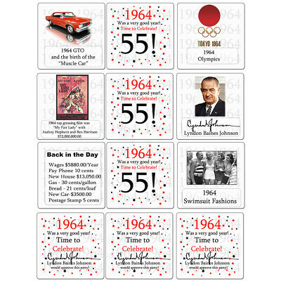Happy 55th Birthday Age 55 1964 Party Supplies FUN FACTS DRINK COASTERS
