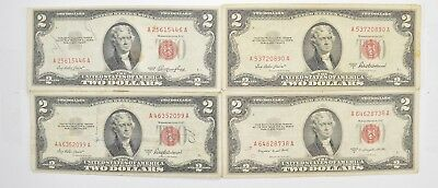 Lot (4) Red Seal $2.00 US 1953 or 1963 Notes - Currency Collection *471